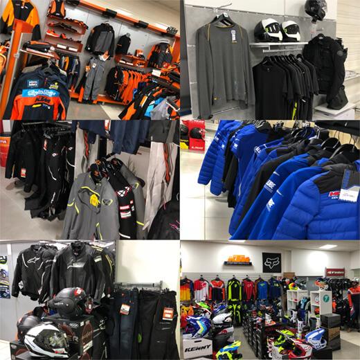 Plusieurs photo de l'intérieur du magasin, avec un large choix d'équipements pour la moto chez Moto Center 81 : blousons, casques...
